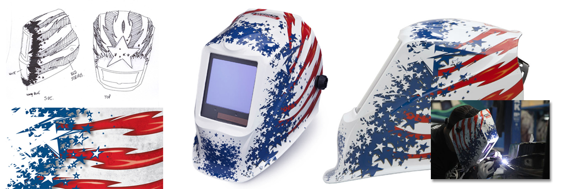 Lincoln Electric Welding Helmet Illustration - Patriot