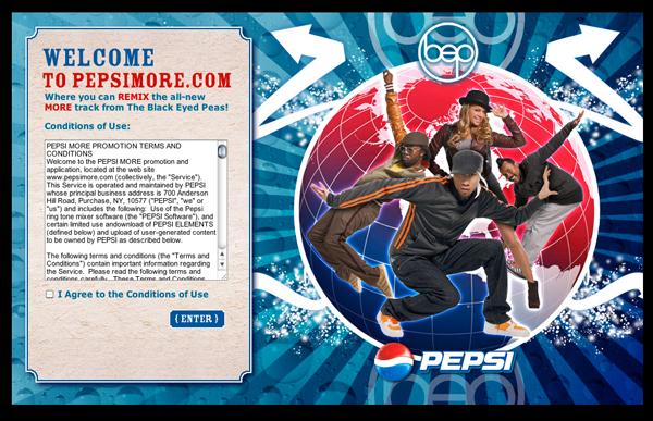 Pepsi More Website Design Home Screen