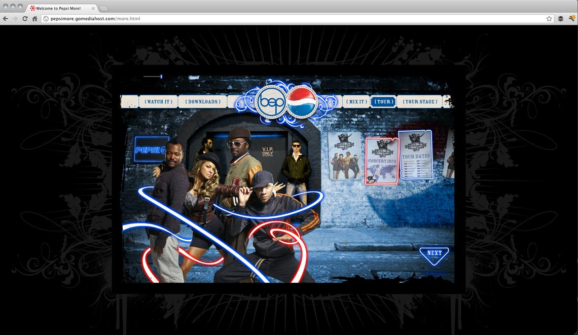 Pepsi More Website Design Tour Page