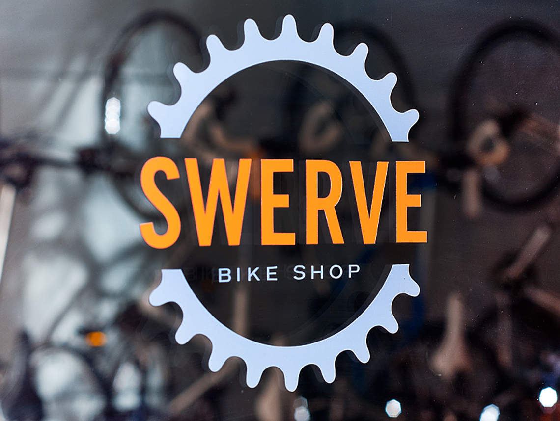 Swerve Bicycle Shop Branding Window Decal