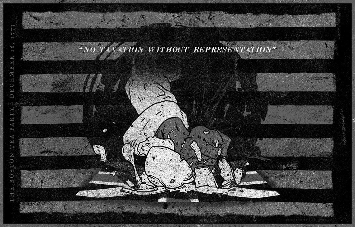 Boston Tea Party Print Design Illustration