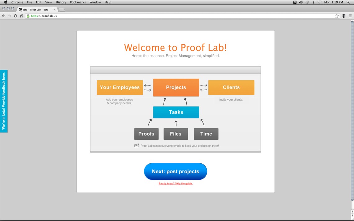 Proof Lab Project Management Software - Homepage