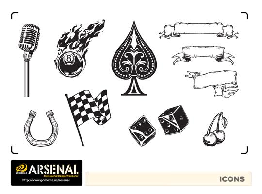 Go Media's Arsenal - Vector set 22 - Rockabilly icons