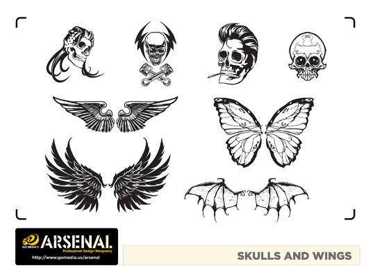 Go Media's Arsenal - Vector set 22 - Skulls and wings