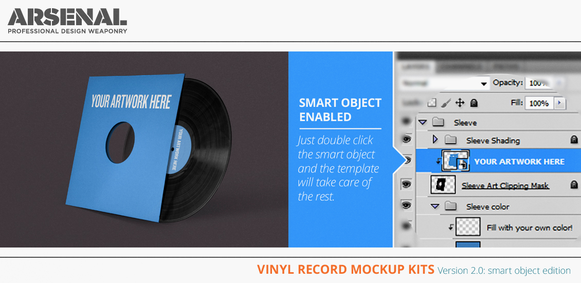 Vinyl records mockup templates v2.0: smart object edition