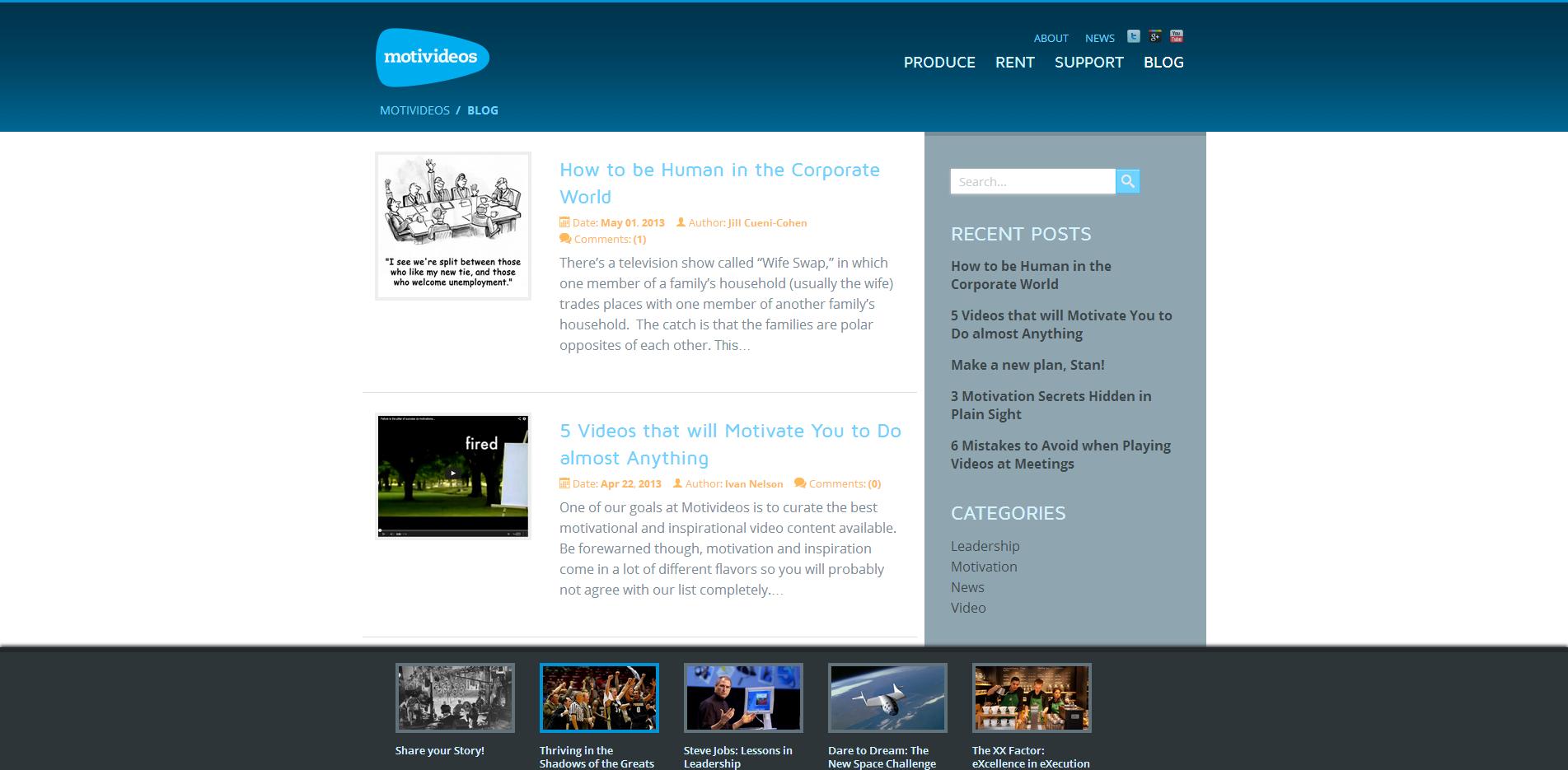 Motivideos Website Design Blog Page