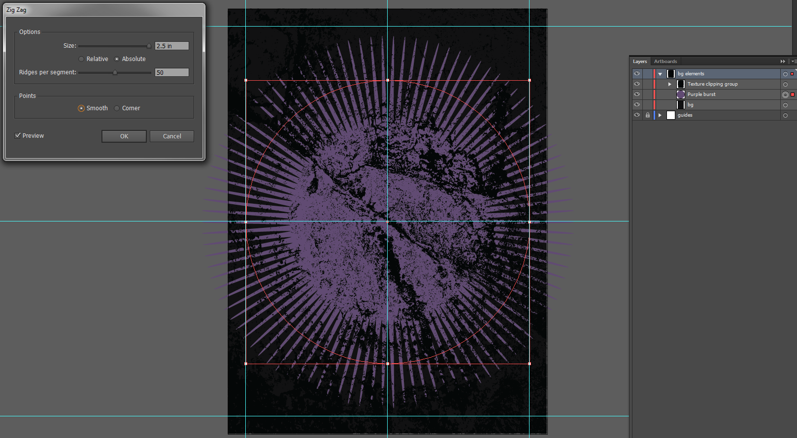 Let's make an horror movie poster with vector set 23 - Background burst creation, Zig Zag filter