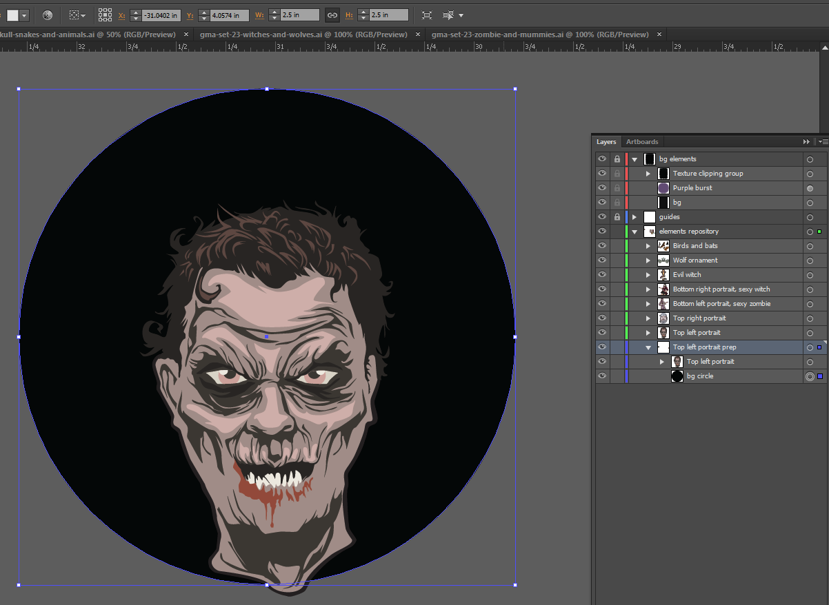 Let's make an horror movie poster with vector set 23 - Preparing the portrait - Support circle