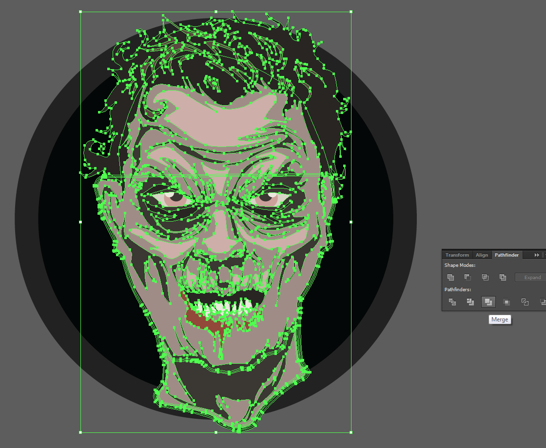 Let's make an horror movie poster with vector set 23 - Preparing the portrait - Merging the zombie head
