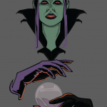 Let's make an horror movie poster with vector set 23 - Preparing the witch portrait