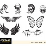 Skull and Wings Vector Pack - Set 22
