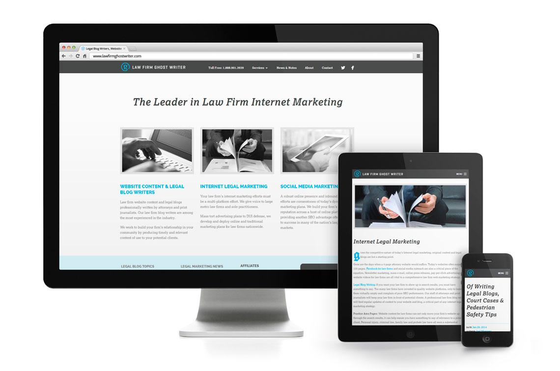 Law Firm Ghost Writer Responsive Website Design Mockup