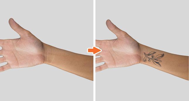 Tattoo MU Photoshop Template Pack_Before-After_WristTattoo