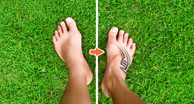 Tattoo Mockup Photoshop Template Pack_Before-After_Feet