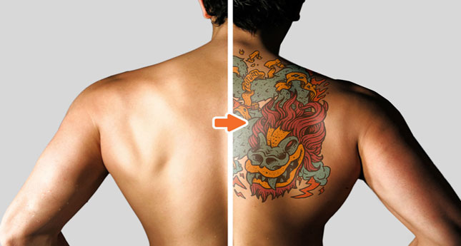 Tattoo Mockup Photoshop Template Pack_Before-After_MensBack