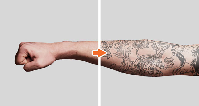 Tattoo Mockup Photoshop Template Pack_Before-After_MensForearm