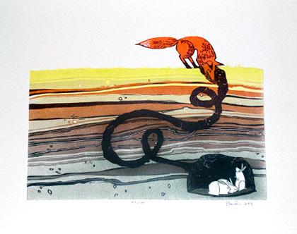 Fox and Rabbits by Laura Baisden