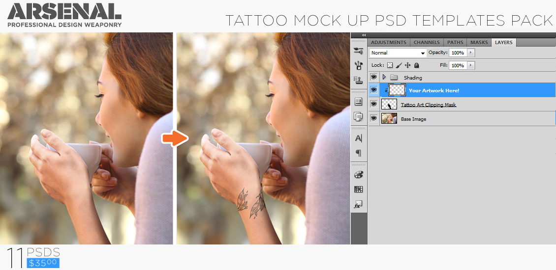 introducing the tattoo mockup photoshop templates pack, Powerpoint templates