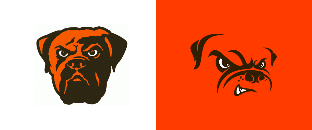 Old vs. New Cleveland Browns Dawg Pound Logo