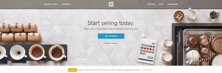 "Square's ""Get Started"" button is plain and simple."