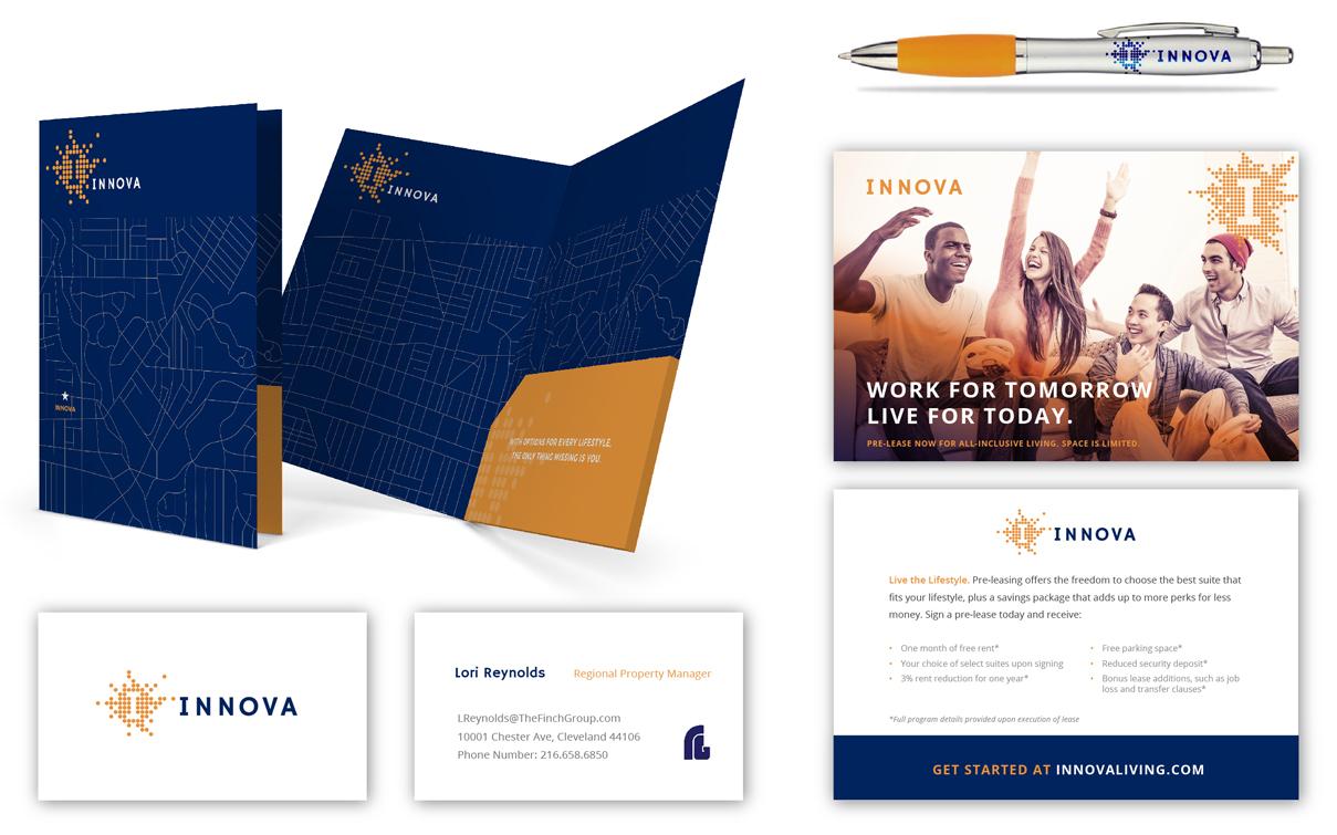 Innova Folder and postcard design