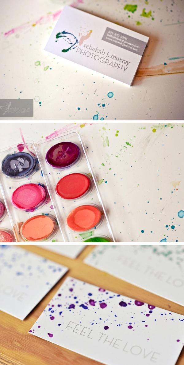 Watercolor Splatter Business Cards by Rebekah Murray