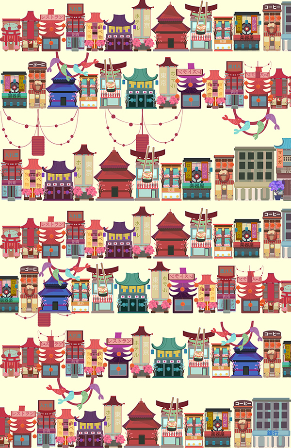 illustration for Japanese style house by Kubra Aslan