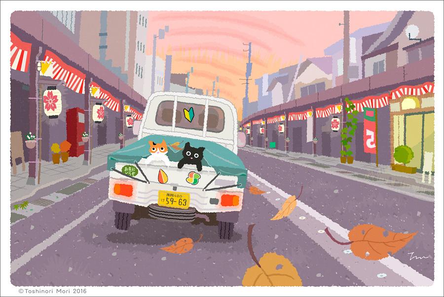 Original Cat Illustration-TABINEKO October by Toshinori Mori