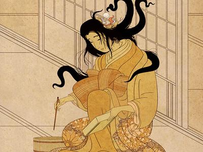 Yōkai Series: Futakuchi-onna by Richard Longhi