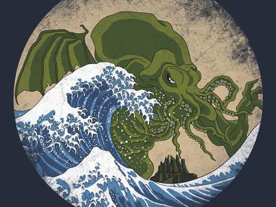 Hokusai Cthulhu by Marco Mottura