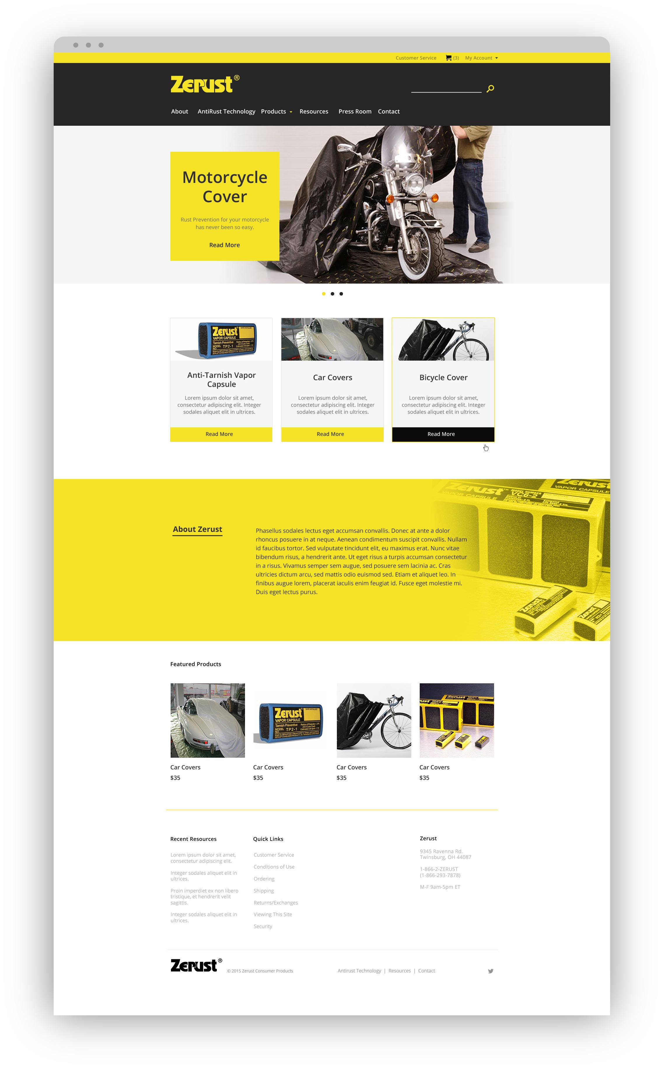 Zerust Homepage Mockup v2